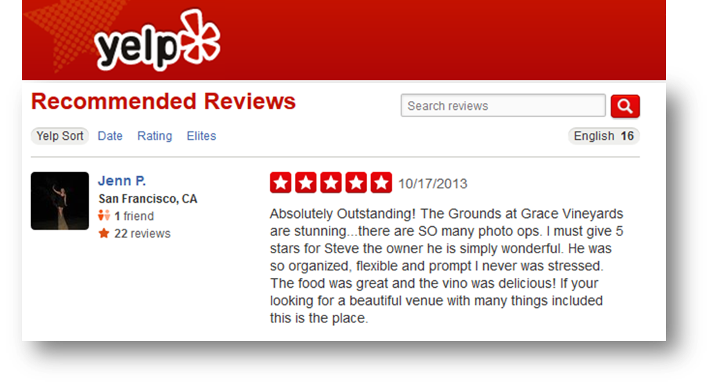 Grace Vineyards Yelp Review