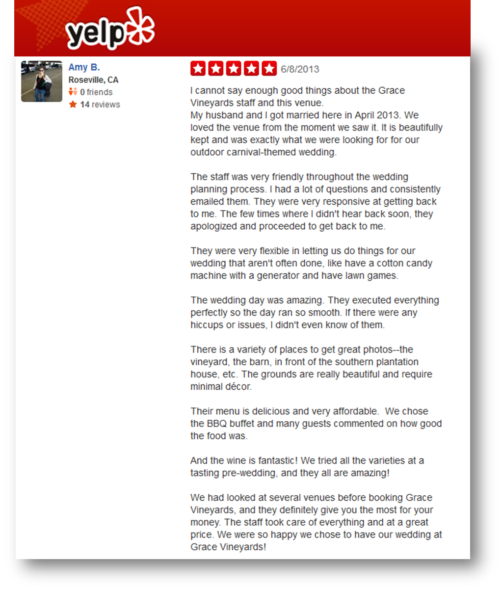 Yelp Reviews   Grace Vineyards and Wedding Venue   Catering
